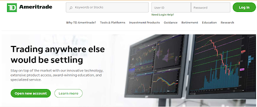 TD Ameritrade website interphase